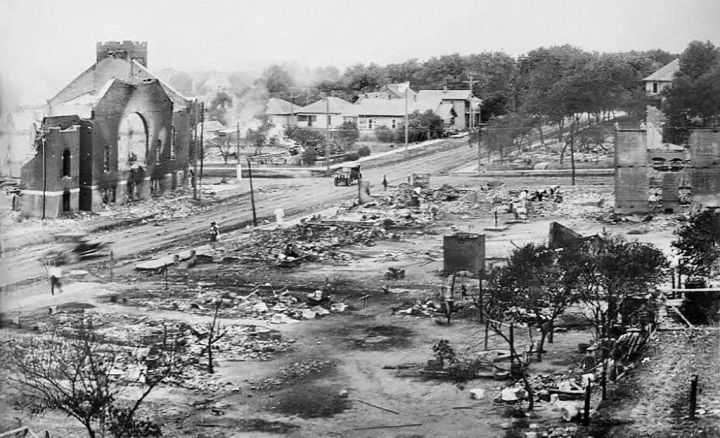 Part of Greenwood District burned in Race Riots, Tulsa, Oklahoma, USA, June 1921