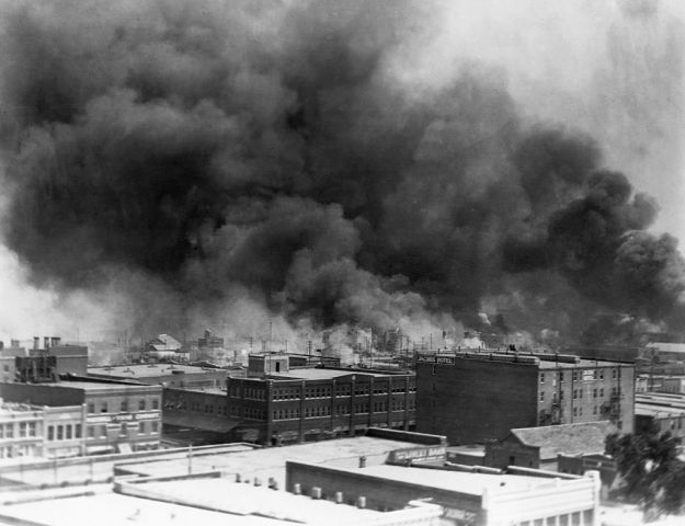Burning Buildings During Tulsa Race Massacre of 1921