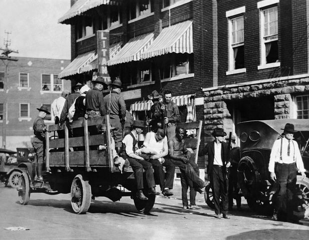 Wounded Prisoners in Trucks in Oklahoma, 1921