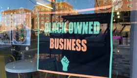 Black Owned Business sign in local storefront window, MisFits Nutrition, Queens, New York