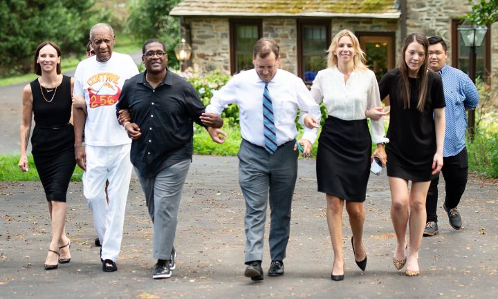 Bill Cosby Comes Out Of His Home To Talk To The Press With His Attorneys After Being Released From Prison In Pennsylvania