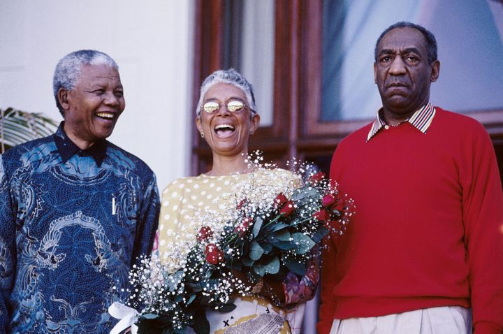 Nelson Mandela with Camille and Bill Cosby