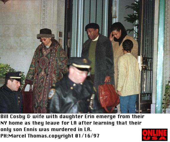 1/16/97 Los Angeles, Ca Bill Cosby & family leaves for LA after learning that his only son Ennis was