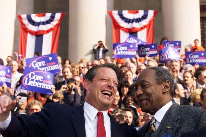 Democratic presidential candidate Vice President Al Gore sha