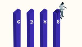 Man jumping from bar graph with currency symbols