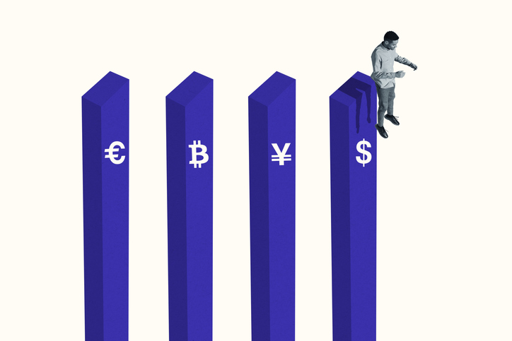 Man jumping from a bar graph with currency symbols