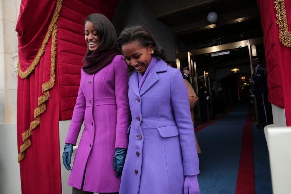 Malia and Sasha Obama, Inauguration, 2013