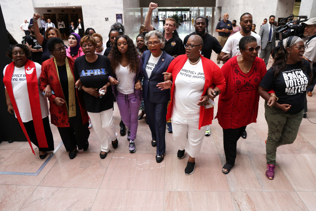 Activists Demonstrate Against State Level Republicans Trying To Pass Restrictive Voting Rights Laws