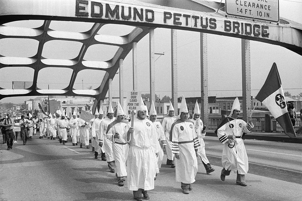 Klan Members Marching Across Edmund Pettus Bridge