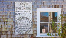 Chilmark Tricentennial sign in small fishing village of Menemsha