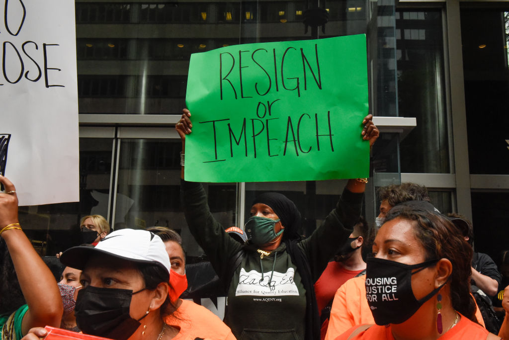 Protestors Rally At Gov. Cuomo's New York City Office Calling For Him To Resign