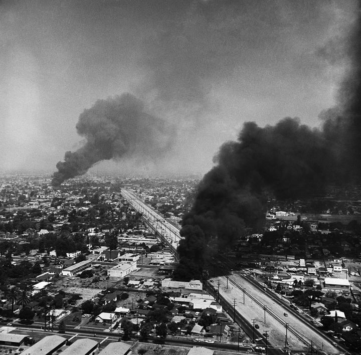 Fire Burning In Southeast Los Angeles