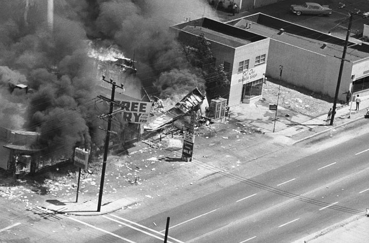 Burning Building in 1965 Los Angeles Race Riots
