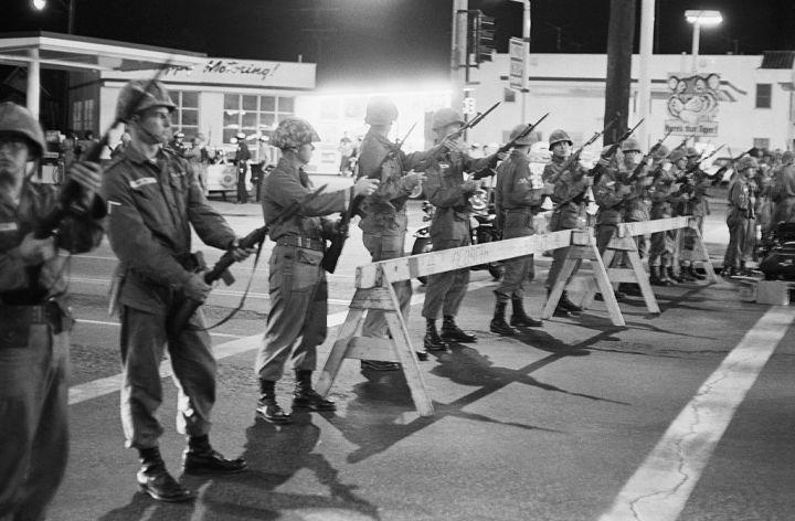 Line of Guardsmen at Barricade