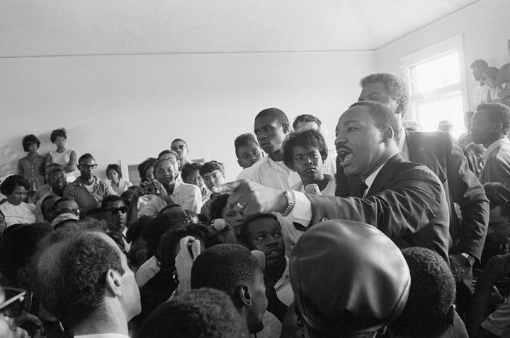 Martin L. King Gesturing Among Crowd