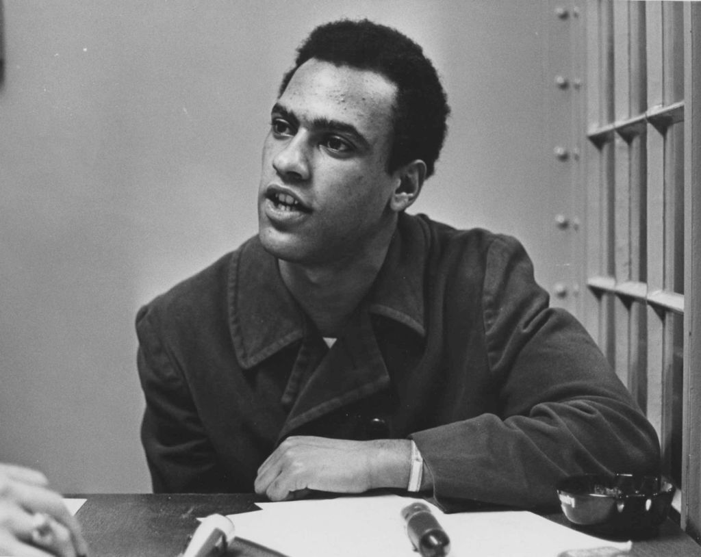Oakland, CA February 29, 1968 - Huey Newton is interviewed at the Alameda County Courthouse. (Howard Erker/Oakland Tribune)