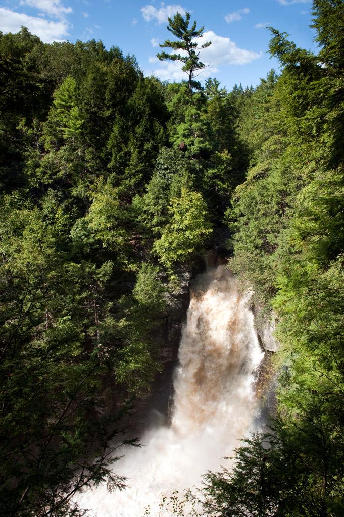 Main falls at Bushkill Falls, in spate after Hurricane Irene, in the Poconos area of Pennsylvania, near the Delaware Water Gap.