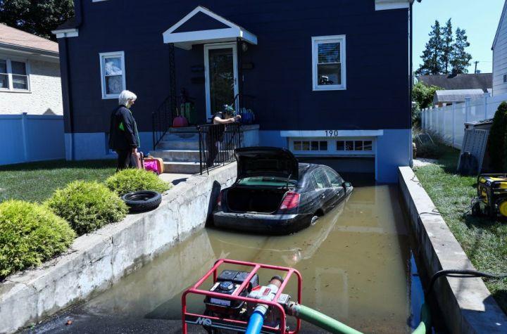 Cars Underwater In Mamaroneck, New York