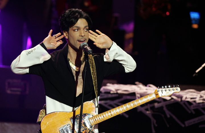 Prince performs on stage at the 36th NAACP Image Awards at the Dorothy Chandler Pavilion on March 19, 2005 in Los Angeles, California. Prince was honored with the Vanguard Award.