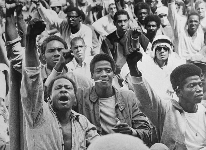 Attica Inmates Raising Fists in Unison During Riot