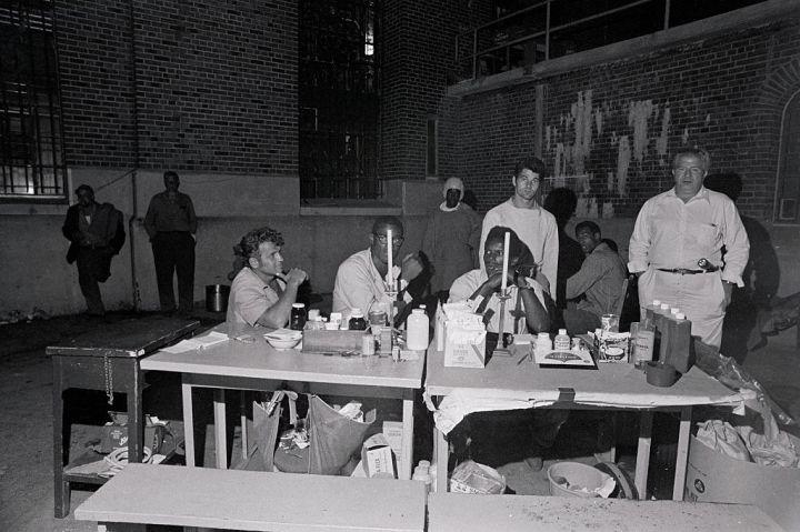 Attica Inmates Sitting at Medical Station