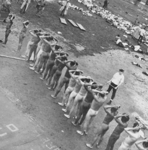 Stripped down Attica prison inmates in courtyard after riot