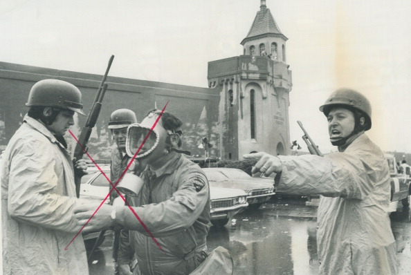 The New York state troopers and national guardsmen involved in police assault on Attica state prison...