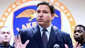 Florida Governor Ron DeSantis speaks at a press conference...