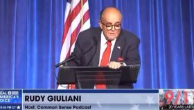 Rudy Giuliani gives suspected drunken speech at 9/11 event on Sept. 11, 2021