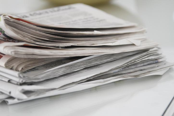 Stack of newspaper bundle