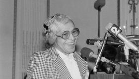 Rosa Parks Speaking at Podium During Award Ceremonies