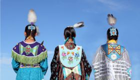 Native Americans in traditional dress at pow-wow