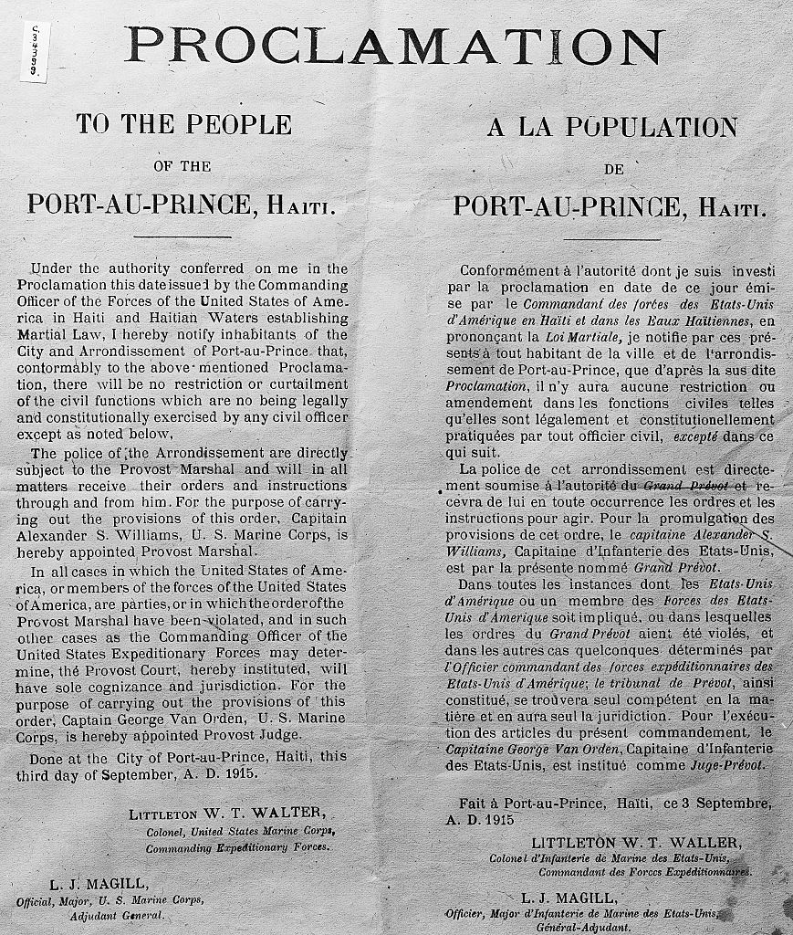Proclamation of American Control in Haiti