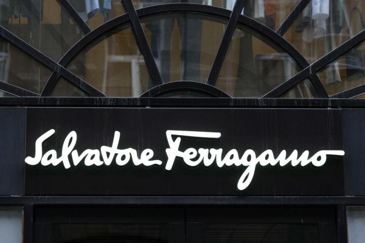 Salvatore Ferragamo logo seen over the entrance to a brand...
