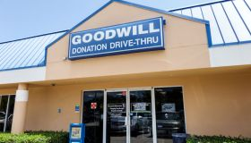 The entrance to the Goodwill Industries.