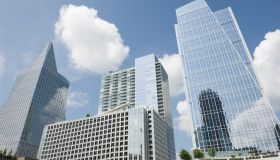 Three modern buildings in different shapes in Atlanta
