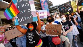 Netflix employees, activists, public figures and supporters gathered outside a Netflix location at 1341 Vine St in Hollywood Wednesday morning in support as members of the Netflix employee resource group Trans*, coworkers and other allies staged a walkout